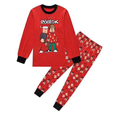 Roblox Youtube Game Niños Chicos Manga Larga Navidad Pijamas Dos Piezas Pjs 6-13 Años (Rojo, 10-11 años)