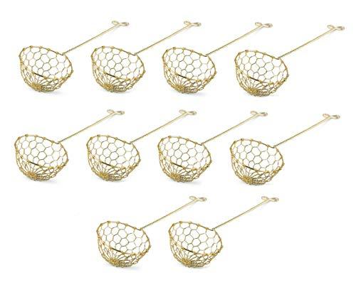 Pamai Pai® Fondue Sieb 10er Pack Messing für Feuertopf Mongolentopf Löffel Sieblöffel goldfarben