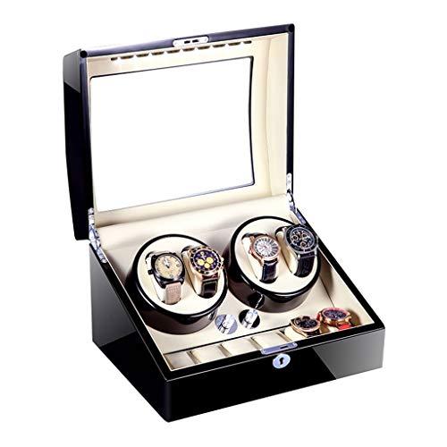 LJP 4 + 6 automático Caja Watch Winder Slient Motor y 5 Rotación Modos de Reloj Caja Almacenamiento silencioso Motor Adaptador CA y batería operado Durante 10 Relojes (Color : A)