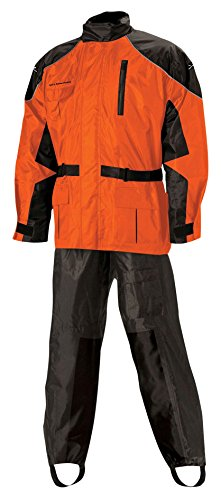 Nelson Rigg Unisex Adult AS-3000-ORG-02-MD Aston Motorcycle Rain Suit 2-Piece, (Orange, Medium)