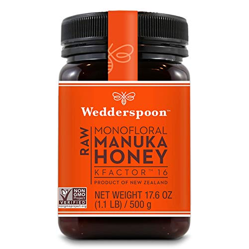 Wedderspoon Raw Premium Manuka Honey KFactor 16+, Unpasteurized, Genuine New Zealand Honey, Multi-Functional, Non-GMO Superfood, 17.6 Ounce