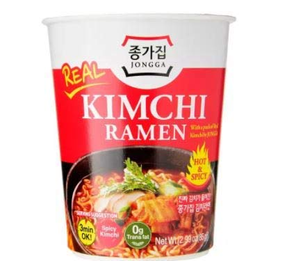 Daesang Jongga Kimchi Ramen Cup with Fork 85g - Kimchi Ramen, Now Comes in a Small Cup Too! Real Kimchi Pack Inside - Easy to Make!