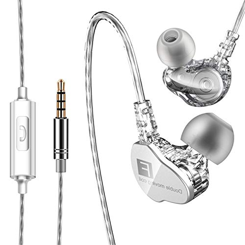 Wired Earbuds Headphones for Computer 3.5mm Earphones with Microphone for iPhone Headphones Noise Isolating Volume Control Stereo Bass Compatible with iPhone iPad iPod PC MP3 Android -Silver