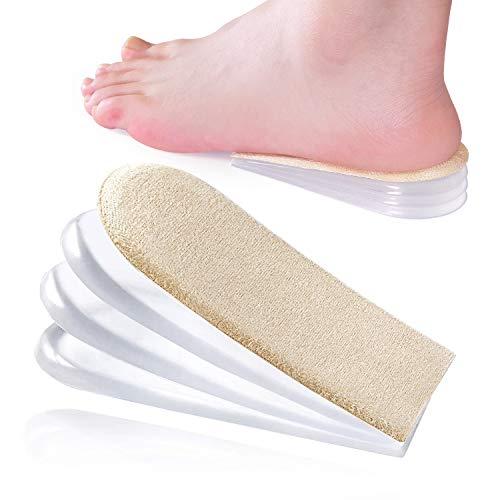 Bukihome Gel Fersenkissen, 4-Lagige Erhöhung Höhe Einlegesohle für Beinlängendifferenzen, Fersensporn Einlagen, Silikon Fersenpolster für Plantarfasziitis, Achillesschmerzen