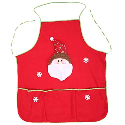 KESYOO Weihnachtsschürze Weihnachtsschürze mit Santa Schneemann Muster Lustige Cartoon Schürze Küche Kochschürze Servierschürze zum Kochen Weihnachtsfeier (Zufällig)