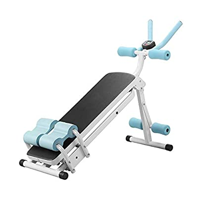 PUPZO Core & Abdominal Trainer, Ab Exercise Machine, Height Adjustable Foldable w/LCD Display 3 Home&Gym Use Levels Resistance (Blue and White)