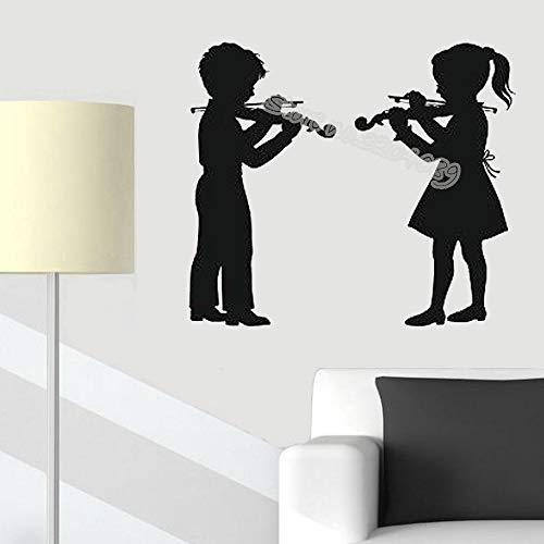 supmsds Niño Niña Tocando Violín Pegatinas de Pared Música Violín Calcomanías de Vinilo Instrumento Decoración Música Escuela Niños Guardería Arte Fondo de Pantalla E 56x46cm