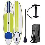 SUP Board Stand up Paddle Paddling Surfboard Galaxy Grün 300x76x15cm aufblasbar Alu-Paddel Hochdruck-Pumpe Rucksack Kick-Pad 120KG