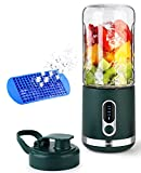 DmofwHi Portable Blender 15oz with Ice Tray, USB-C Rechargeable Personal Mini Blender for Shakes and Smoothies, Wireless Juicer Cup for Travel - Green