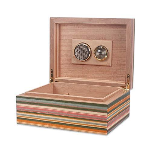 CLJ-LJ Gabinete de puros con higrómetro y humidificador de cigarrillos Forro Caso de madera del cedro engrosada sellado humidor de puros hombres de la caja de regalo de gran capacidad capacidad for 20