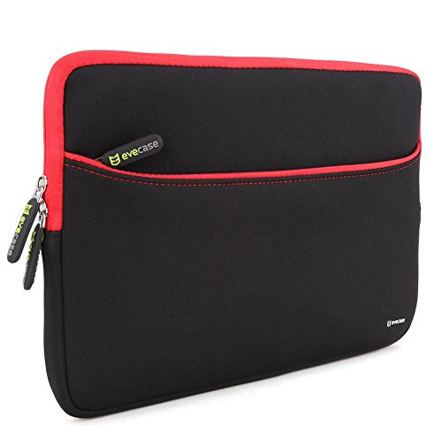 Evecase 13.3-Inch Ultra-Slim Compact Neoprene Padded Sleeve Case Bag w/ Accessory Pocket for Tablet Laptop Ultrabook Notebook Chromebook (Black and Red Trim)