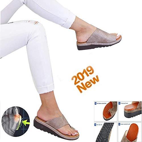 Damen Big Toe Hallux Valgus Unterstützung Plattform Sandale Schuhe Bunion Corrector Hausschuhe Sommer Strand Reise Schuhe Weiche Verschleißfest