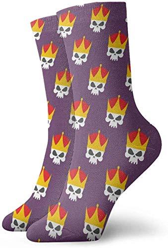 Jhonangel Skull Crown Calcetines casuales unisex Los mejores calcetines de la tripulación Calcetines antideslizantes Crazy Calcetines Novedad 30cm