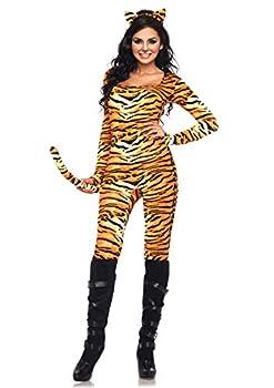 Leg Avenue 2 Piece Wild Tigress Catsuit Set-Sexy Tiger Bodysuit with Tail for Women Orange/Black Small/Medium