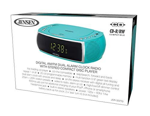 Jensen Turquoise Modern Home CD Tabletop Stereo Clock Digital AM/FM Radio CD Player Dual Alarm Clock Stereo CD Top-Loading Disc Player   USB Charging Port DV 5V 800mA   Headphone Jack   0.9 Display