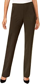 Style & Co... Straight-Leg Tummy-Control Pants Petite Dark Forest Green Size 4