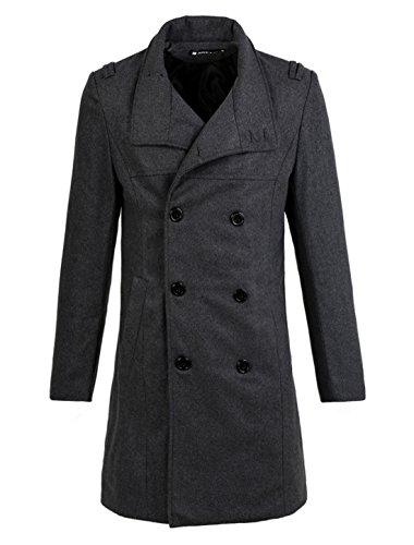 sourcingmap Herren Schräg Taschen vorn Teilt Rücken lässig Lang Doppelreihige Knöpfer Mantel Dunkel Grau S (EU 44)