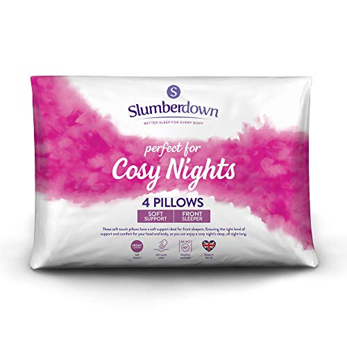 Slumberdown Cosy Nights White Pillows Pack of 4 Soft Support Designed for Front Sleepers Bed Pillows