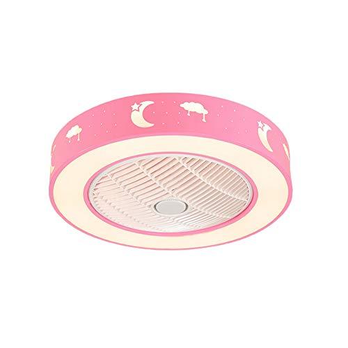 Eookall Fan-Deckenleuchte, Fernbedienung Invisible Stille dimmbare LED-Lampen Fan, DREI-Speed Regulation Wohnzimmer Schlafzimmer Deckenventilator,Rosa