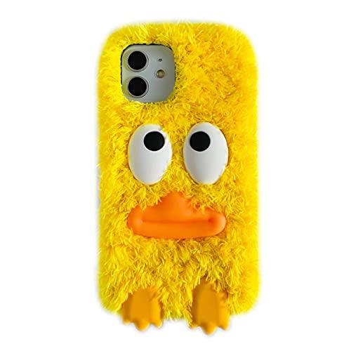 SGVAHY - Custodia in pelliccia di anatra per iPhone 7/8/SE2, divertente e soffice, morbida e calda copertura posteriore + bumper in TPU antiurto (giallo, iPhone 7/8/SE2)