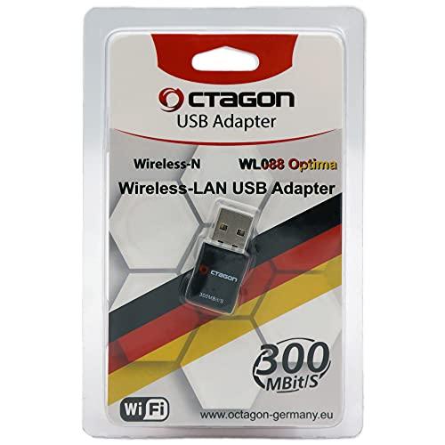 OCTAGON Optima WL088 - Adaptador USB WLAN (300 Mbit/s - 2,4 GHz, Wi-Fi 4 estándar (802.11 b/g/n), Plug & Play para receptor satélite, IP TV Box, ordenador de sobremesa, ordenador portátil