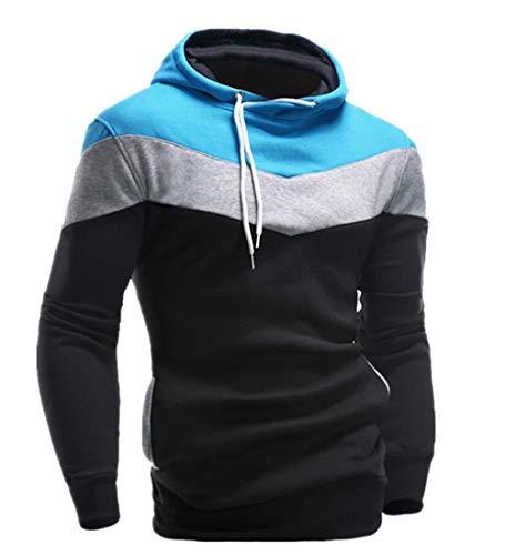 KPILP Männer Übergröße Herbst Winter Retro Patchwork Langarm-Shirt Hoodie Sweatshirt Oberteile Jacke Mantel Outwear(Schwarz, M)