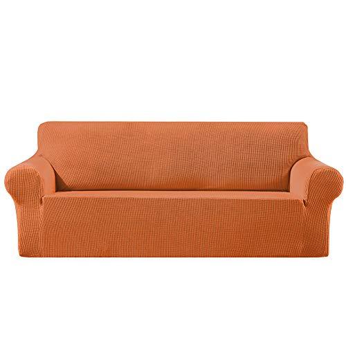 CanKun Stretch Sofa Schonbezug 1/2/3/4-Sitzer Sofabezug Hunde Universal Sofa Schonbezug Rutschfester Möbelschutz Maschinenwaschbar,Orange,1 Seater
