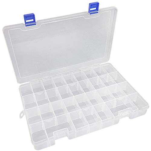 Qualsen Plastic Compartment Box with Adjustable Dividers Craft Tackle Organizer Storage Containers Box 34Grid 1PC (Clear)