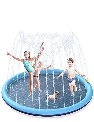 BOIROS Tapis Jet d'eau, 170cm Tapis de Pulvérisation d'eau PVC, Splash Pad Antidérapant, Jeux d'eau Exterieur pour Enfants dans Jardin