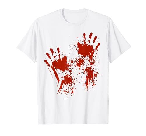 Halloween T-Shirt Blutige Hände Blutspritzer Kostüm Zombie T-Shirt