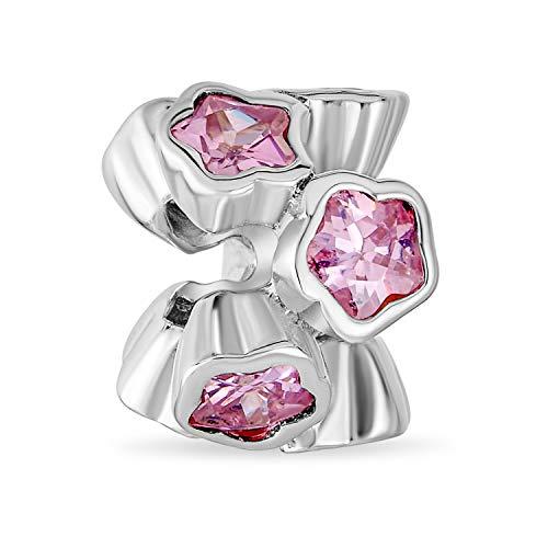 Rosa cúbico Zirconia CZ bisel conjunto de racimo estrella flor espaciador encanto cuenta para las mujeres novia .925 plata de ley se adapta pulsera europea