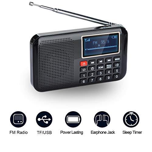COVVY - Altavoz portátil de radio FM MP3, linterna de emergencia, compatible con tarjeta Micro TF / disco USB, función de apagado temporizador, almacena estaciones automáticamente (negro)