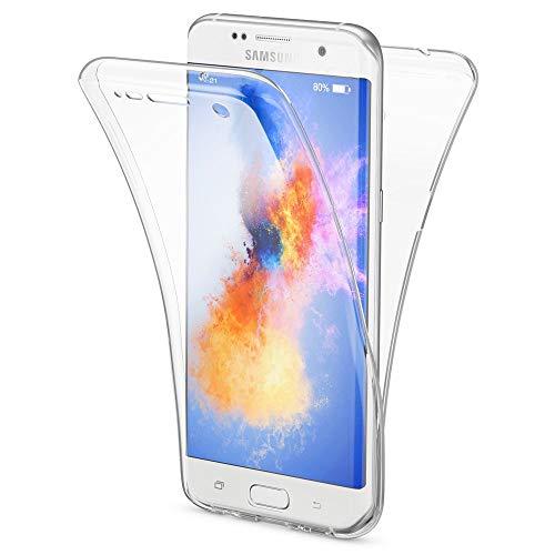 NALIA 360 Grad Handyhülle kompatibel mit Samsung Galaxy S7 Edge, Full Cover Vorne & Hinten Rundum Schutz-Hülle, Dünnes Ganzkörper Silikon Case, Transparenter Displayschutz & Rückseite - Transparent