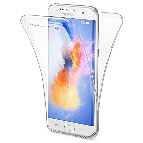 NALIA Funda 360 Grados Compatible con Samsung Galaxy S7 Edge, Delantera Trasera Protectora Movil Silicona Carcasa, Ultra-Fina Gel Transparente Doble Cubierta Goma Bumper Cover Case - Transparent