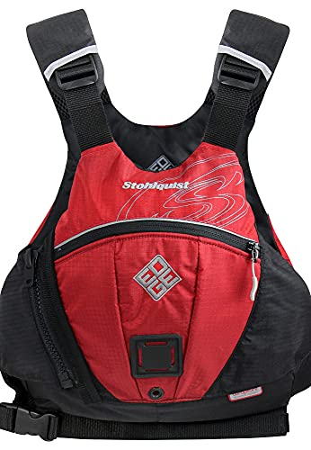 Stohlquist Edge Adult PFD Life Jacket - Red, Small/Medium - Easy to Adjust Whitewater PFD, High Mobility Ultra Soft Buoyancy PVC Foam, Low Profile Graded Sizing for All Paddlers