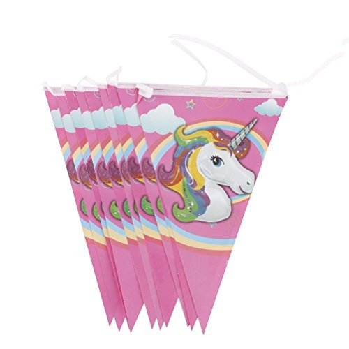 TRIXES 10 Piezas Guirnalda Empavesado Banderas Triangulares Unicornio para Fiestas de Cumpleaños Infantiles