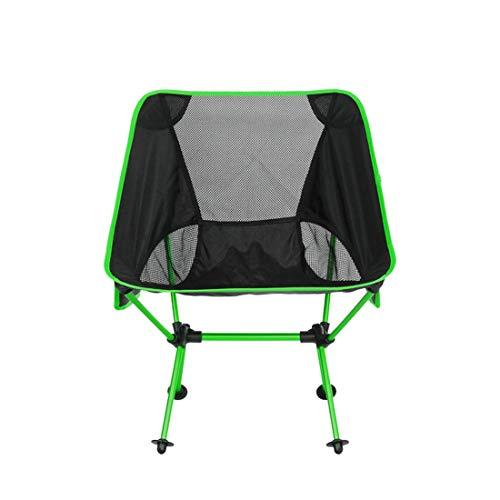 MOKA OUTDOOR tragbarer Klapp-Campingstuhl, ultraleichter Rucksack mit Tragetasche + Seitentasche für Outdoor, Camping, Angeln, Strand, Reisen,Green