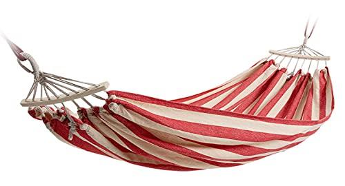 Cesta De Columpio De Hamaca, Anti-vuelco, Lona Engrosada, Camping Al Aire Libre, Dormitorio Interior 200*150cm Doble Anti-vuelco de Rayas Rojas y Blancas