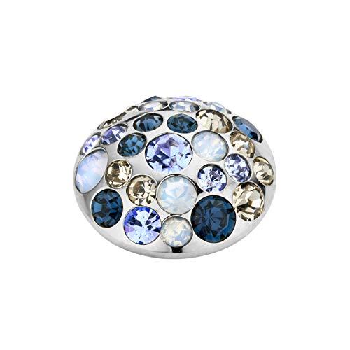 MelanO Vivid Ringaufsatz Anemonen - Form Edelstahl mit Zirkonia in Farbe Blau 11 mm VM16SS00235