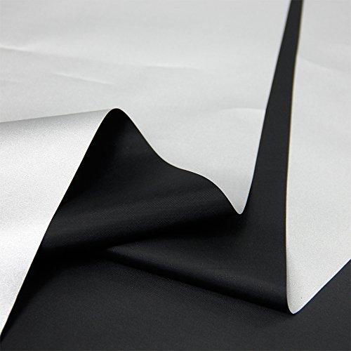 Blackout Drapery Shade Fabric Black and Silver 100 Percent Shading Light Waterproof Sunshade Cloth Light Weight (4Yards)