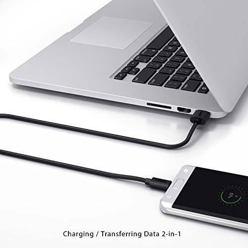 AUKEY Cable Micro USB [ 1,2 m * 3 ] USB 2.0 Carga Rápida y Sincronización para Teléfonos AndroidSamsung Galaxy S7 / S7 Edge / S6 / S6 Edge / S6 Edge+, HUAWEI Honor 6, HTC Desire, Sony etc. - Negro
