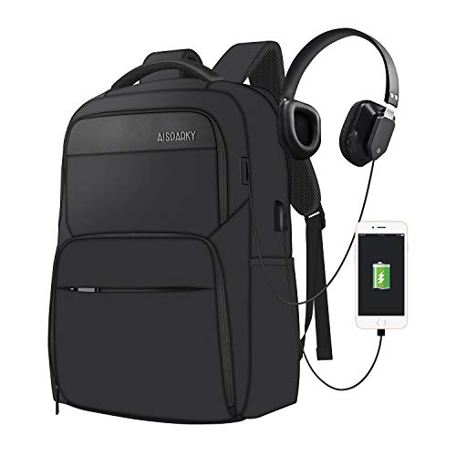 Laptop Backpack Large Travel Men Backpack Slim Lightweight Laptop Rucksack with USB Charging Port Anti-Theft Casual Daypack Water Resistant College School Rucksack for Men, Fits 15.6 inch, Black