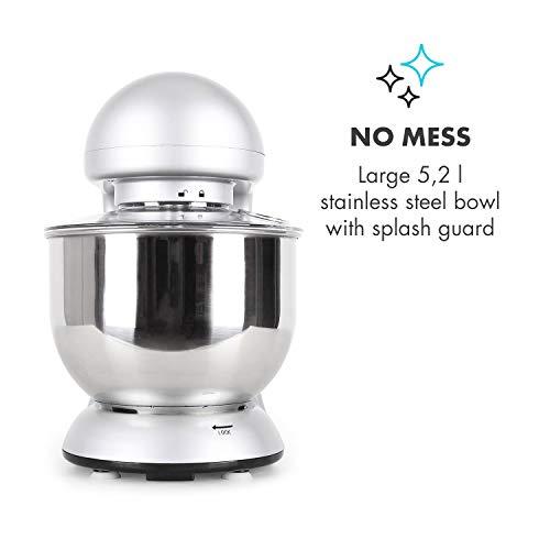 Klarstein Bella Argentea Küchenmaschine Rührgerät (1200 Watt, 5,2 Liter-Rührschüssel, 6-stufige Geschwindigkeit) silber - 6