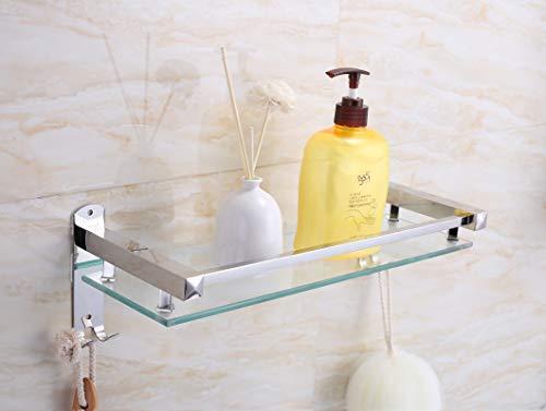 PIGPIGFLY Mensola in vetro per doccia, scaffale per bagno doccia, organizer per mensole da doccia, mensola da bagno, in acciaio inox lucido, ripiani da bagno, 40 x 15 cm