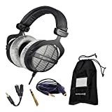 Beyerdynamic DT 990 Pro 250 Ohm Open-Back Studio Mixing Headphones Bundle -Includes- Soft Case, Headphone Splitter, and More
