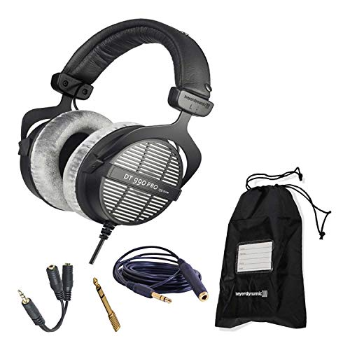 Beyerdynamic DT 990 Pro 250 Ohm Open-Back Studio Mixing Headphones Bundle -Includes- Soft Case, Headphone Splitter, and More