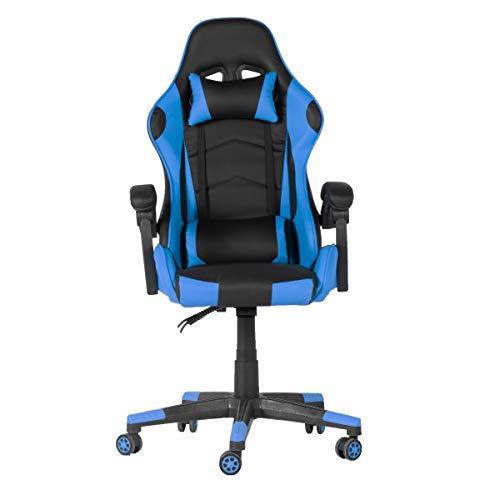 Goets Game Chair - Gaming Sessel - Verstellbare Sitzhöhe - Gaming-Stuhl mit Nackenkissen und verstellbaren Armlehnen - bis 150kg - Blau