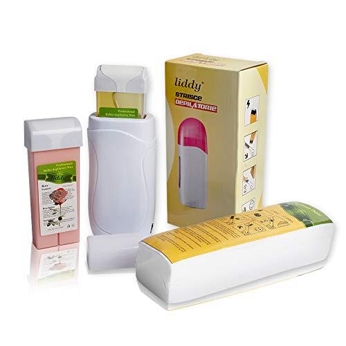Depilatory Roll on Wax Heater Roller Warmer Cartridge Strips Hair Removal Kit (1 Depilatory Heater & 2 Wax & 100 Paper)