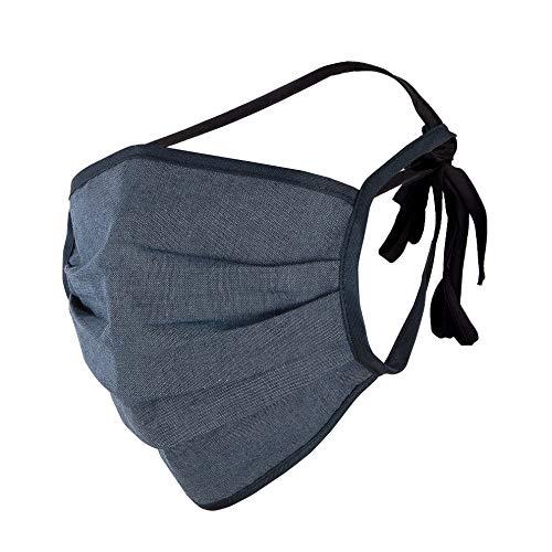 Gesichts Maske – Stoff Maskemaske zum Binden - Motiv Masken blau - wiederverwendbar & waschbar – Stoffmaske - Community Gesichtsmasken - Behelfsmasken