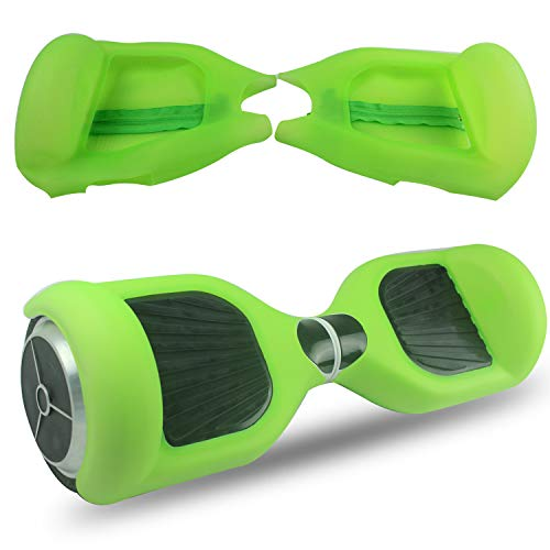 ABBY Protectora Silicona con Cremallera para 6.5' Smart Scooter Balance Patinete Electrico Hoverboard Cover (Verde Transparente+Cremallera)
